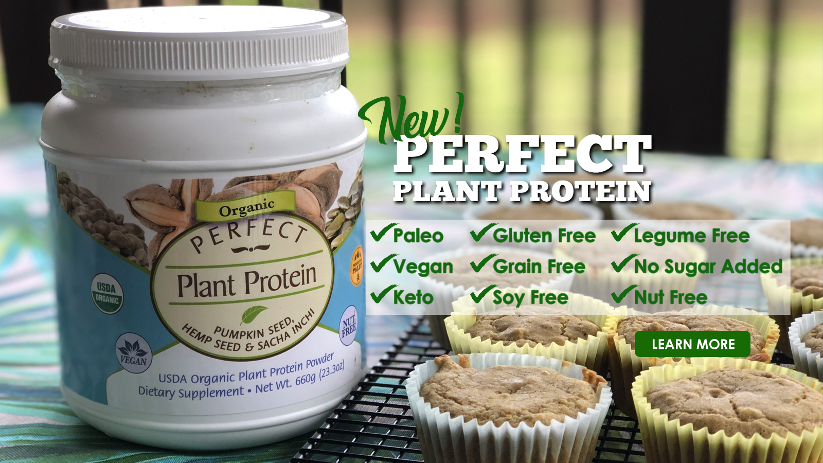 Perfect Supplements Perfect Plant Protein Ad Banner (1600 x 900)
